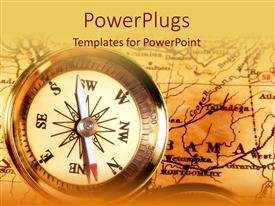 PowerPlugs: PowerPoint template with compass on top of map on vintage looking background