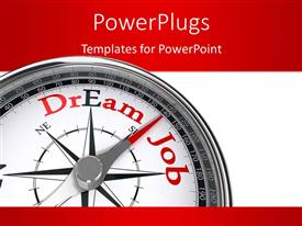 PowerPoint template displaying a compass with the words dream job and reddish background