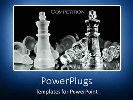 PowerPoint template displaying competition metaphor with chess pieces on black background with blue border