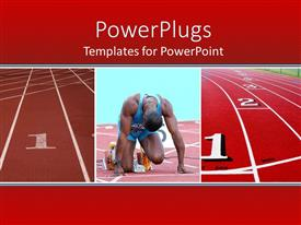 PowerPlugs: PowerPoint template with competition metaphor with man preparing to run track race