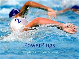 PowerPlugs: PowerPoint template with competition metaphor with swimmers in pool, swimming, race