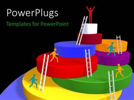 PowerPlugs: PowerPoint template with competition to reach at the top and be successful with black color