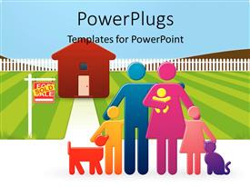 PowerPoint template displaying a complete happy family with house
