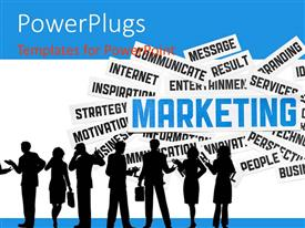 PowerPlugs: PowerPoint template with a silhouette of men and women with some text behind them