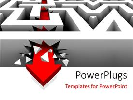 PowerPlugs: PowerPoint template with a complex maze with an arrow through it