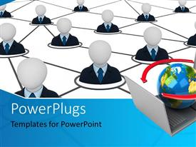 PowerPlugs: PowerPoint template with people icons linked together with globe on laptops depicting network connection