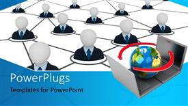 PowerPoint template displaying people icons linked together with globe on laptops depicting network connection