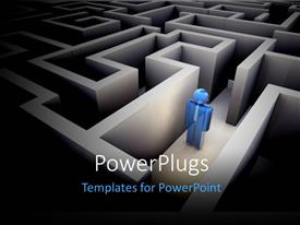 PowerPlugs: PowerPoint template with a complex puzzle in the background with a person