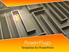 PowerPlugs: PowerPoint template with a complicated maze with a key and yellowish background
