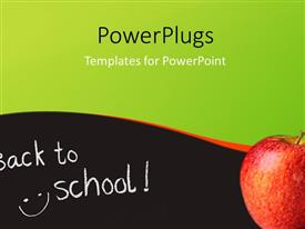 PowerPlugs: PowerPoint template with back to school depiction with red apple on surface