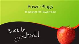 PowerPoint template displaying back to school depiction with red apple on surface