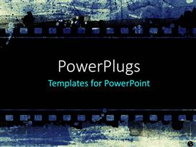 PowerPlugs: PowerPoint template with a strip of black film on a blue colored background