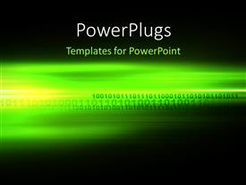 PowerPlugs: PowerPoint template with computer generated digital binary code futuristic background in green