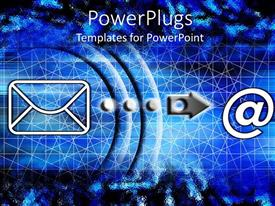 PowerPoint template displaying computer graphics of an @ symbol and an Internet mail