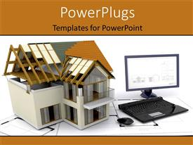 PowerPlugs: PowerPoint template with a computer and a house being built
