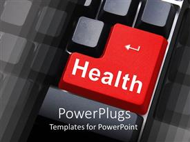 PowerPoint template displaying computer keyboard with a big red button for help