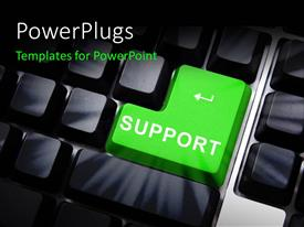 PowerPlugs: PowerPoint template with computer keyboard with distinct green SUPPORT button