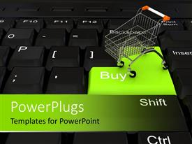 PowerPlugs: PowerPoint template with computer keyboard with green Buy key and shopping cart
