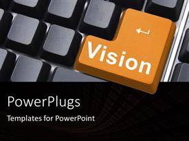 PowerPoint template displaying computer keyboard with large orange vision key among black keys