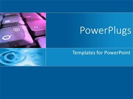 PowerPlugs: PowerPoint template with computer keyboards on a blue plane background with an @ symbol