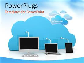 PowerPoint template displaying a computer,laptop and a tab