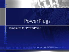 PowerPlugs: PowerPoint template with computer microchip on blue and gray
