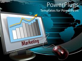 PowerPlugs: PowerPoint template with computer monitor and mouse with marketing bar chart and yellow rising arrow, world map on background