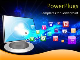 PowerPlugs: PowerPoint template with a computer monitor with various apps in the background
