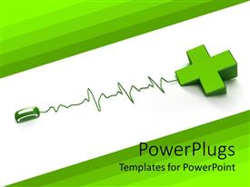 PowerPlugs: PowerPoint template with computer mouse with cable shaped as heartbeat line connected to a 3D green cross depicting the first aid cross on white and green background
