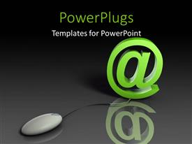 PowerPlugs: PowerPoint template with computer mouse connected to email symbol with reflection on grey background