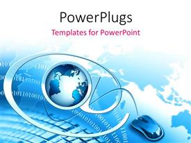 PowerPlugs: PowerPoint template with computer mouse connected to globe and internet symbol over keyboard