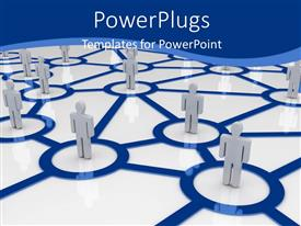 PowerPlugs: PowerPoint template with computer network depiction with people standing in connected circles over white surface
