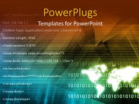 PowerPlugs: PowerPoint template with computer programming depiction with lines of code and binary digits