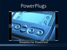 PowerPoint template displaying a computer related machine with dark background