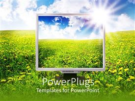 PowerPoint template displaying computer screen showing green vegetation and cloudy sky