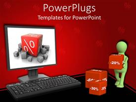 PowerPlugs: PowerPoint template with computer screen showing large cube with percent symbol and 3d man carrying cubes