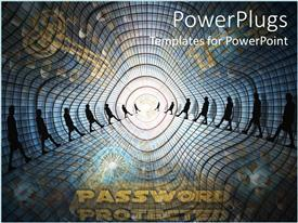 PowerPlugs: PowerPoint template with computer security metaphor with people walking, gold keys, password protected