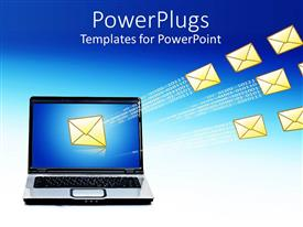 PowerPlugs: PowerPoint template with a computer sending  mails with binary numbers