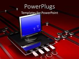 PowerPoint template displaying computer on simple microchip and electronic circuit red black background