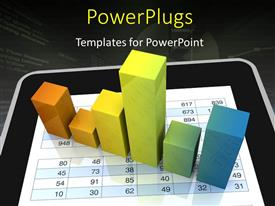 PowerPoint template displaying computer spreadsheet and charts to show the concept of modern tools for financial and market analysis