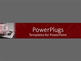 PowerPlugs: PowerPoint template with computer tower with open disk drive on red and gray background