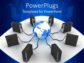 PowerPlugs: PowerPoint template with computer towers plugged into blue and white globe