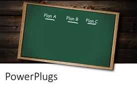 PowerPlugs: PowerPoint template with concept of a backup plan using chalkboard, placed on wood texture