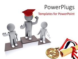 PowerPlugs: PowerPoint template with concept of competition and winners , with medal and degree