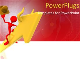 PowerPlugs: PowerPoint template with a red 3D character sitting on a big yellow arrow