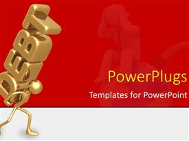 PowerPlugs: PowerPoint template with a 3D character carrying a text that spell out the word 'debt'