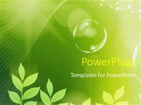PowerPoint template displaying the concept of greenery and bubbles