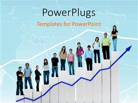 PowerPlugs: PowerPoint template with concept of growth and success using combo chart and group of people with blue color