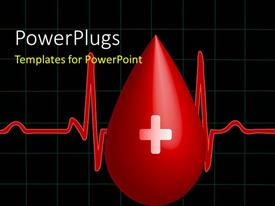 PowerPlugs: PowerPoint template with a drop of blood with a heartbeat line