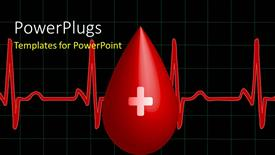 PowerPoint template displaying a drop of blood with a heartbeat line